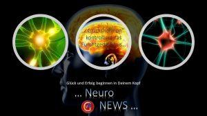 Bild mit Kopf und Neuronen - Glückshormon kontrolliert das Furchtgedächtnis
