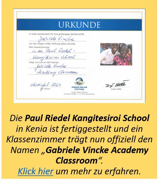 Urkunde Grundschule Kenia